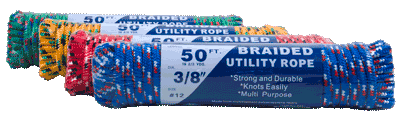 Braided Poly Rope 3/8″ x 50′ (Choice of various colors)