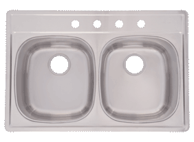 Double Bowl <br />Kitchen Sink 8&#8243; Deep
