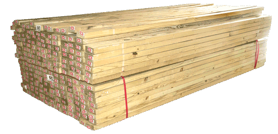 Stack of 2x4 treated lumber